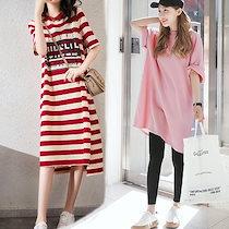 2020新作 夏 ワンピースストライプTシャツドレス ワンピース キャミワンピース ホームウェア ロング丈 キャップスリーブ カジュアル 普段着 ラウンドネック 韓国ファッション