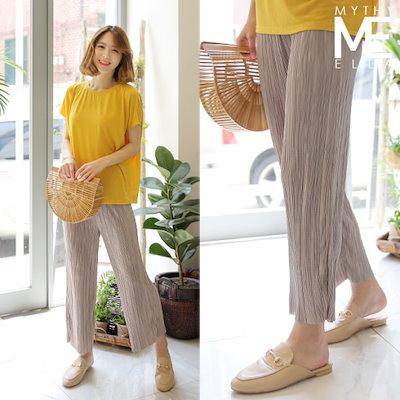 ミさんエラ・プリーツワイド・パンツ パンツ/排気パンツ/韓国ファッション
