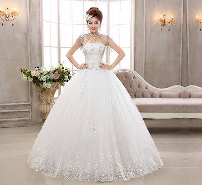 ベアトップ バックレス 韓国風 ウェディングドレス 水晶 大きなリボン 花嫁 礼服 イブニングドレス XCQD32