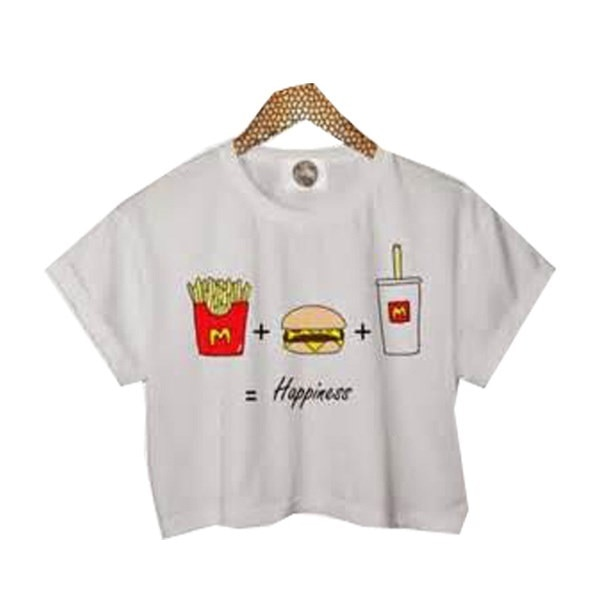 Summer Sleeveless O-neck Fries Burger and Cola Print Vest Women Casual Tee Cropped Tops