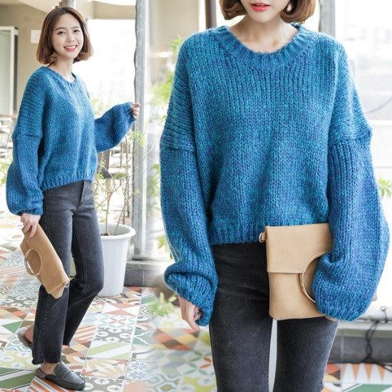 [さんエラ]カラーリングパフ袖カットソー ニット/セーター/ニット/韓国ファッション