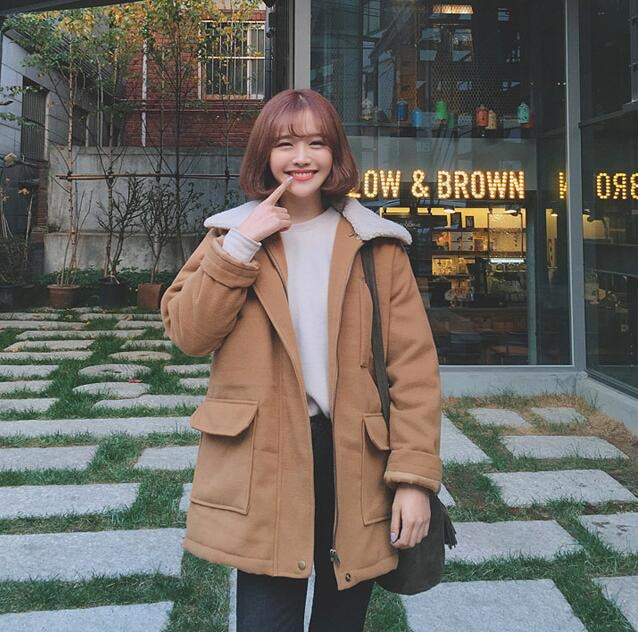 ♪♪2017年秋冬の新型韓版学院風/復古/ラム毛襟/肥厚/ラシャコート