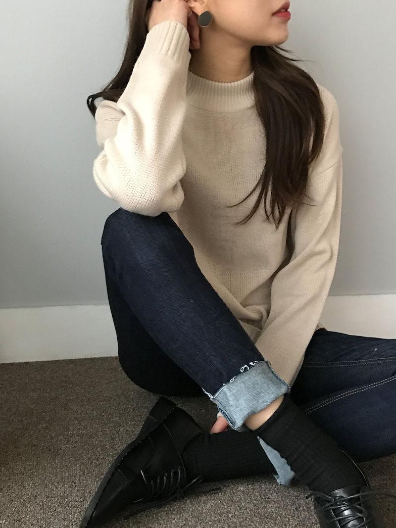 ラテデイリーラウンドネックニットkorea fashion style