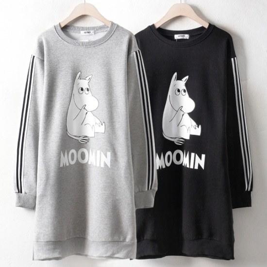 【ウィスィモール] MN1008起毛キューティームーミンワンピース(H801)2col.66-110size 綿ワンピース/ 韓国ファッション
