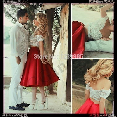Prom Dresses Elegant Boat Neckline Lace Satin Short Sleeves Two Pieces Knee Length Red Evening Party Dress MQ-10222