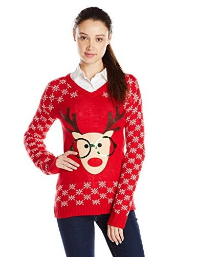 Derek Heart Juniors Long Sleeve Nerdy Reindeer Ugly Christmas Sweater, Red, Medium
