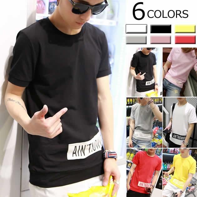 Tシャツ カットソー トップス メンズ ワッペン プレーン ラウンドカラー ディリー カジュアル リブデザイン シンプル【t661-s1802