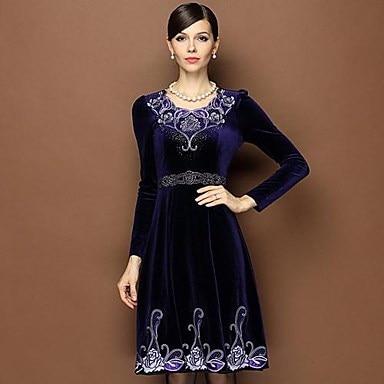 女性のパープルビーズロングスリーブベルベットドレス