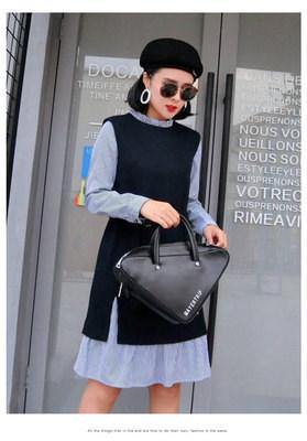 (FS-JAN-013) 韓国はファッションがゆったりして   ストライプの葉の葉を厚くしながら長いワンピース