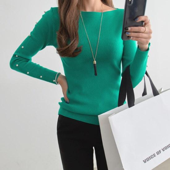 【ペッパー】パール飾りスリムフィットフェミニンニット#104947 ニット/セーター/ニット/韓国ファッション