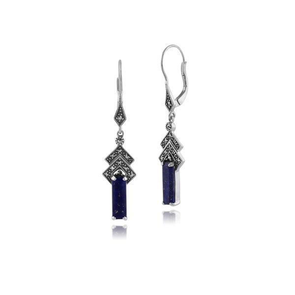 Gemondo 925スターリングシルバーヴィンテージインスピレーションArt Deco Lapis Lazuli&Marcasite Drop Earrings(カラー: