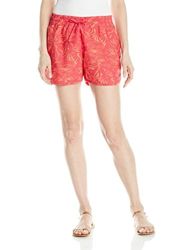 Columbia Womens Cool Coast Shorts, Bright Rose Print, Large/4