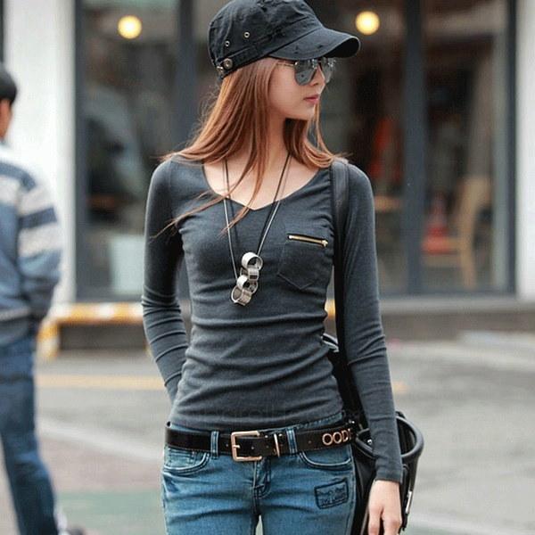 新しい韓国ファッション女性のトップロングスリーブパンクセクシーなTシャツティーAP