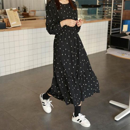 ピンクシスレーのルーアンドットフリルのワンピース 綿ワンピース/ 韓国ファッション