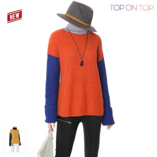 タプオンタプタプオンタプビビッド配色タートルニートTP1738045 ニット/セーター/タートルネック/ポーラーニット/韓国ファッション