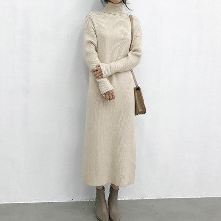 Guest Long Knit Dress Korean fashion style