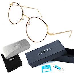 LACCL (ラクル) ブルーライトカット 丸メガネ 軽量 23グラム 伊達眼鏡 猫耳 レディース 度なし UV 90%以上 006