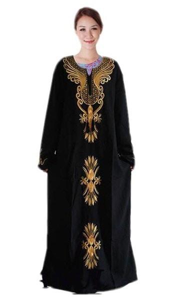 新しいイスラム教徒の刺繍シフォンロングスリーブドレスイスラムKaftan Jibab Abaya