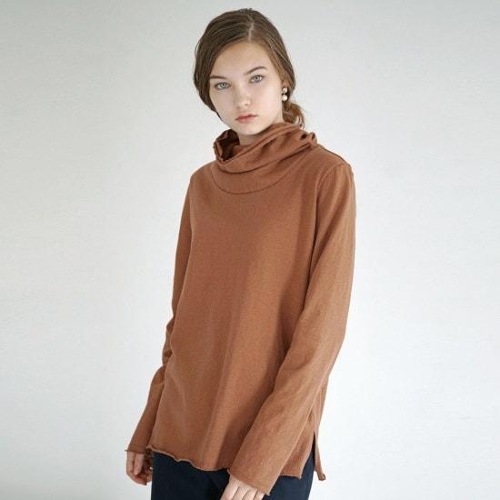 ルードRaw Edge TurtleneckCamelタートルネック ニット/セーター/タートルネック/ポーラーニット/韓国ファッション