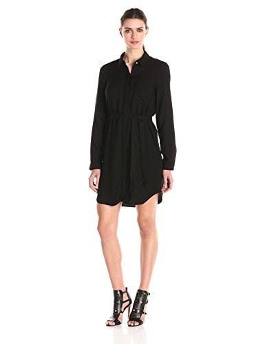 Three Dots Womens Shirt Dress with Tie, Black, Small