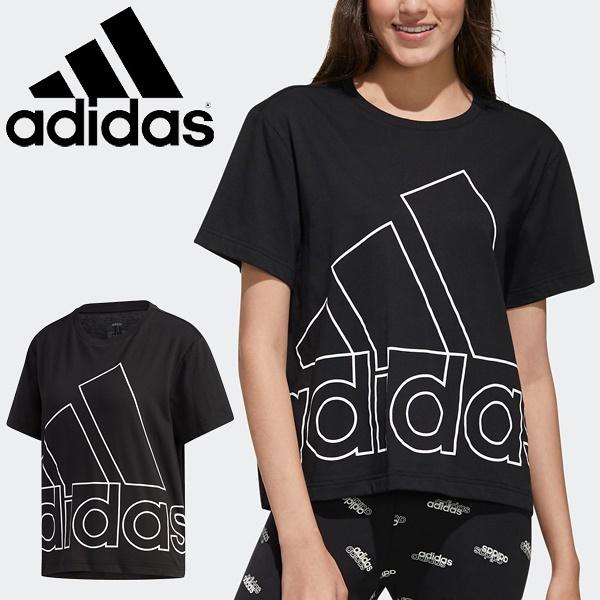 半袖 Tシャツ レディース/アディダス adidas W FAVOURITES Tシャツ/スポーツウェア プリントT ブラック トップス 半袖シャツ 家トレ14639-GK3330