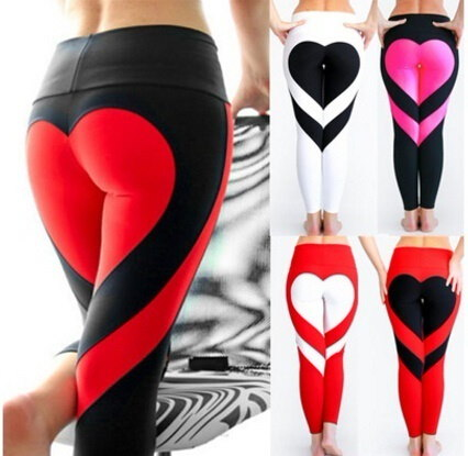 Women Special Design Love Yoga Leggings Heart Booty Pants Running Tights Crop Workout Pants