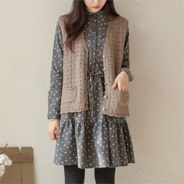 ジャストウォンルル波ラインウールチョッキ 女性ニット/ニットベスト/韓国ファッション