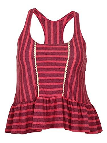 Lucky Brand Womens Striped Coastline Tank Top Swim Cover Up Coral M