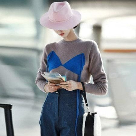 【ディントゥ] E1487バスト配色ポイントのニットトップkorea fashion style