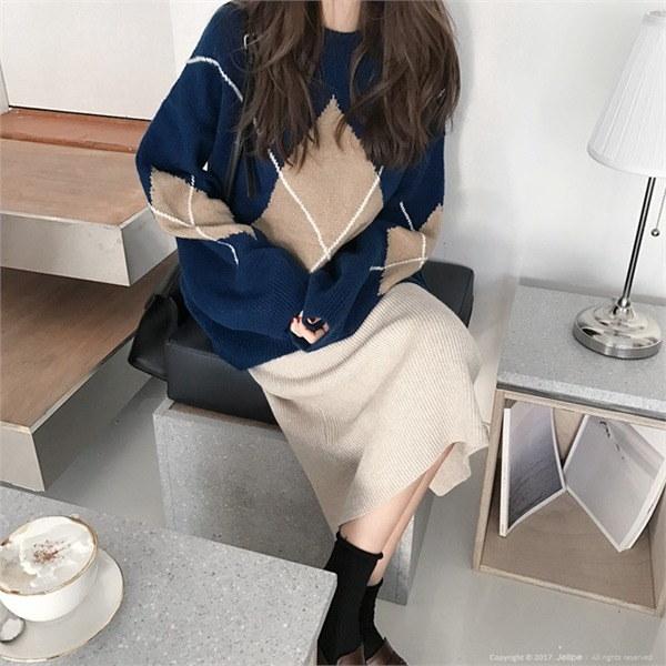 セビョクジョンニット/アーガイル/ルーズフィットnew 女性ニット/ラウンドニット/韓国ファッション