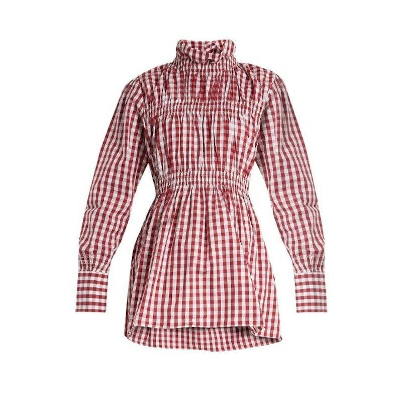 テイジャ レディース トップス ブラウス・シャツ【Ruffled-collar cotton-gingham shirt】Burgundy and white