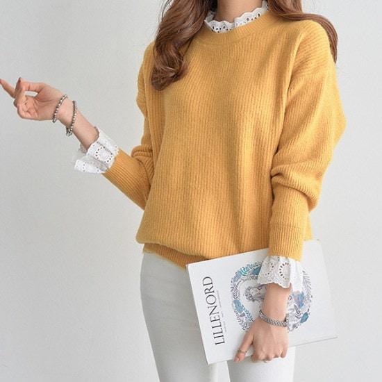 【ペッパー】レース配色ラブリーニット#104926 ニット/セーター/ニット/韓国ファッション