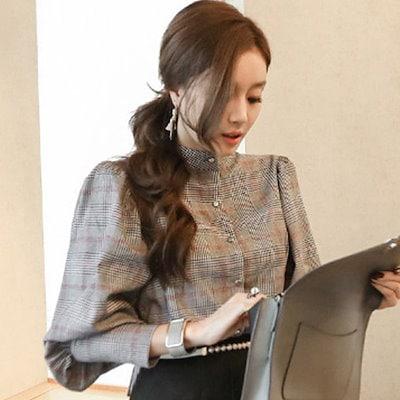 韓国ファッション 春 韓国 バックリボンが印象的のレトロなグレンチェックシャツ