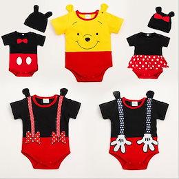 683ddd42ebe0b 連体服 クマのプーさん 可愛い 赤ちゃん服 ミッキーミニー刺繍ワンピース 夏 薄い 半袖