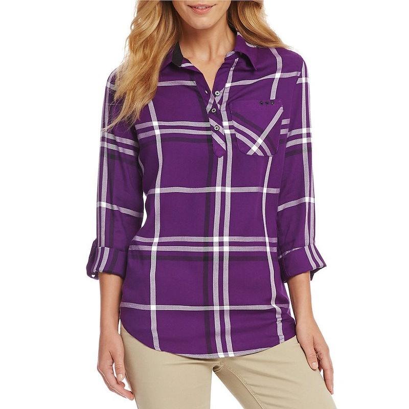 ウエストバウンド レディース トップス ブラウス・シャツ【Westbound Petites One Pocket Popover Shirt】Grape Plaid