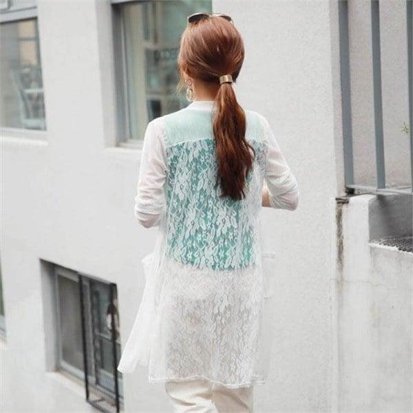 スタイルオンミアイスクーリングレース配色ロングカディゴンnew 女性ニット/カーディガン/韓国ファッション