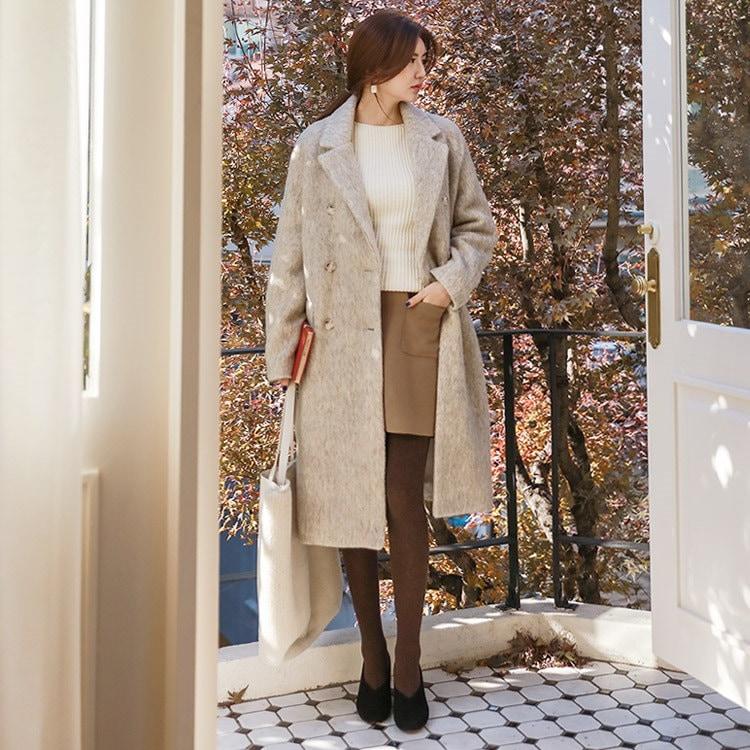韓国 ファッションサイトNo.1 [CHICHERA]★送料無料★/デイリーウールのロングロングコート