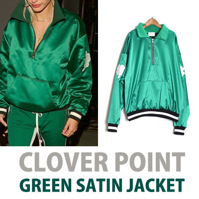 《送料無料》クローバーグリーンサテンジャケット