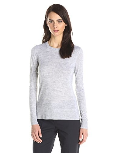 Theory Womens Kralla Merino Wool Long Sleeve Sweater, Cold Heather, Petite