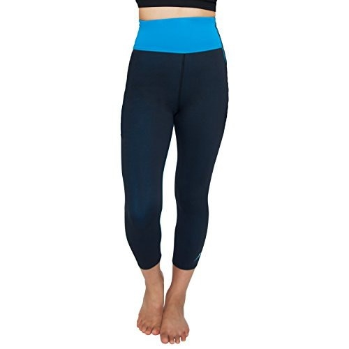 Delfin Mineral Infused High Waisted Exercise Capri, Turquoise, Medium