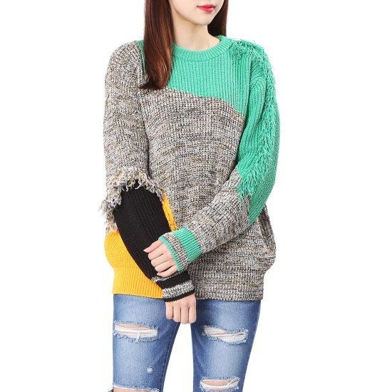 【あるSJと二フィート]マルチカラーフリンジプルオーバー(PWMS1KU069) ニット/セーター/パターンニット/韓国ファッション