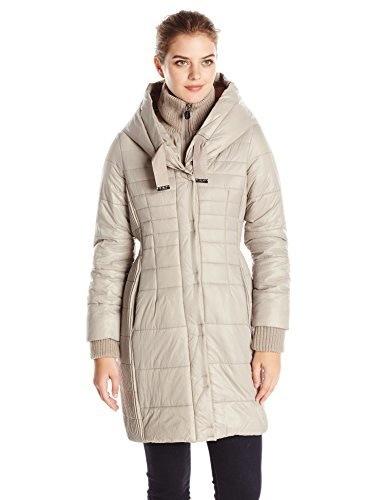 T Tahari Womens Paulette Packable Down Jacket with Hood, Cork, Medium
