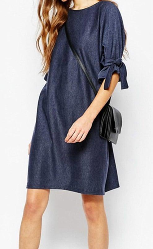 レディー女性 デニム 半袖 リボン ワンピース ドレス 大きなプラスサイズあり