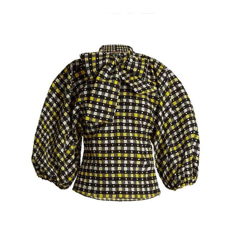 デュロ オロウ レディース トップス ブラウス・シャツ【Napoli check-print tie-neck blouse】Canary-yellow