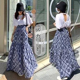 メガ割後1699円💜ペイズリー柄ロングスカート パネル柄 ロングスカート マキシスカート 韓国ファッション