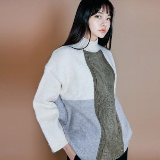 イニクイニクカラー配色KNITニート ニット/セーター/ニット/韓国ファッション