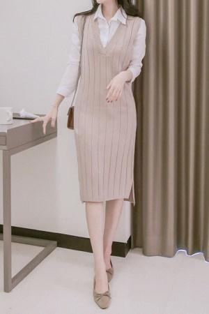 ベーシックモダンニットベストワンピース(シャツSET)korean fashion style