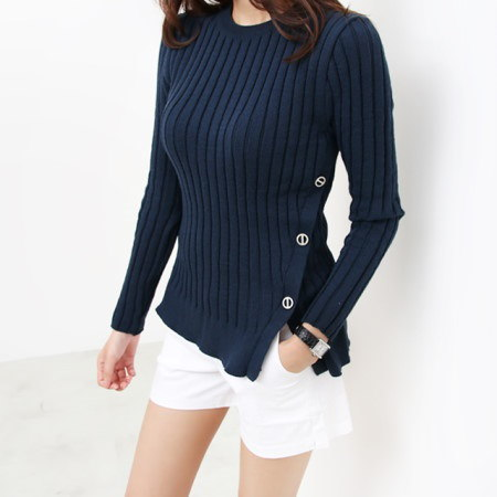 [Dimming] 3 color waist button knit tee