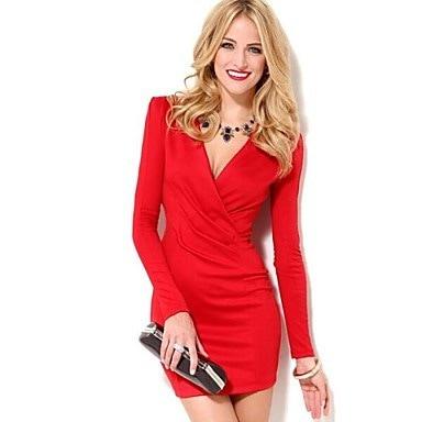 女性のファッションセクシーなVネックロングスリーブスリムミニドレス