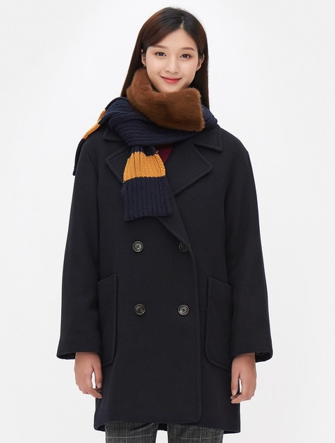 8SECONDS Double Breasted Oversize Half Coat - Navy